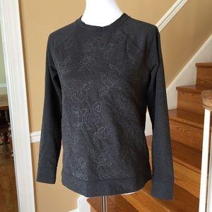 Lands' End Floral Embroidered Sweatshirt